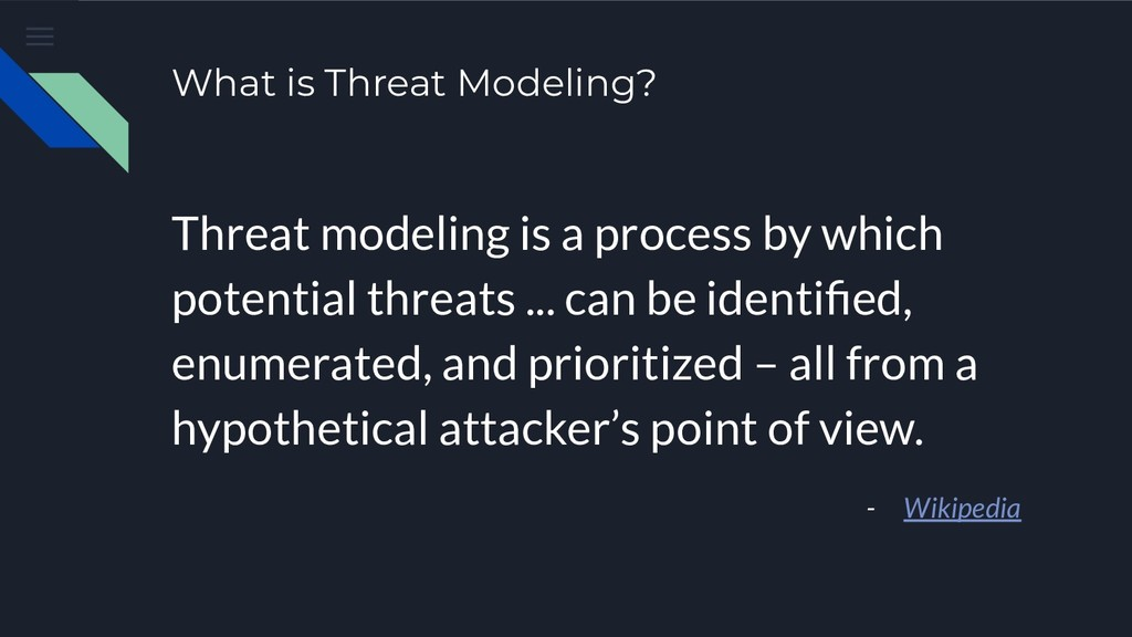 What is Threat Modeling? Threat modeling is a p...