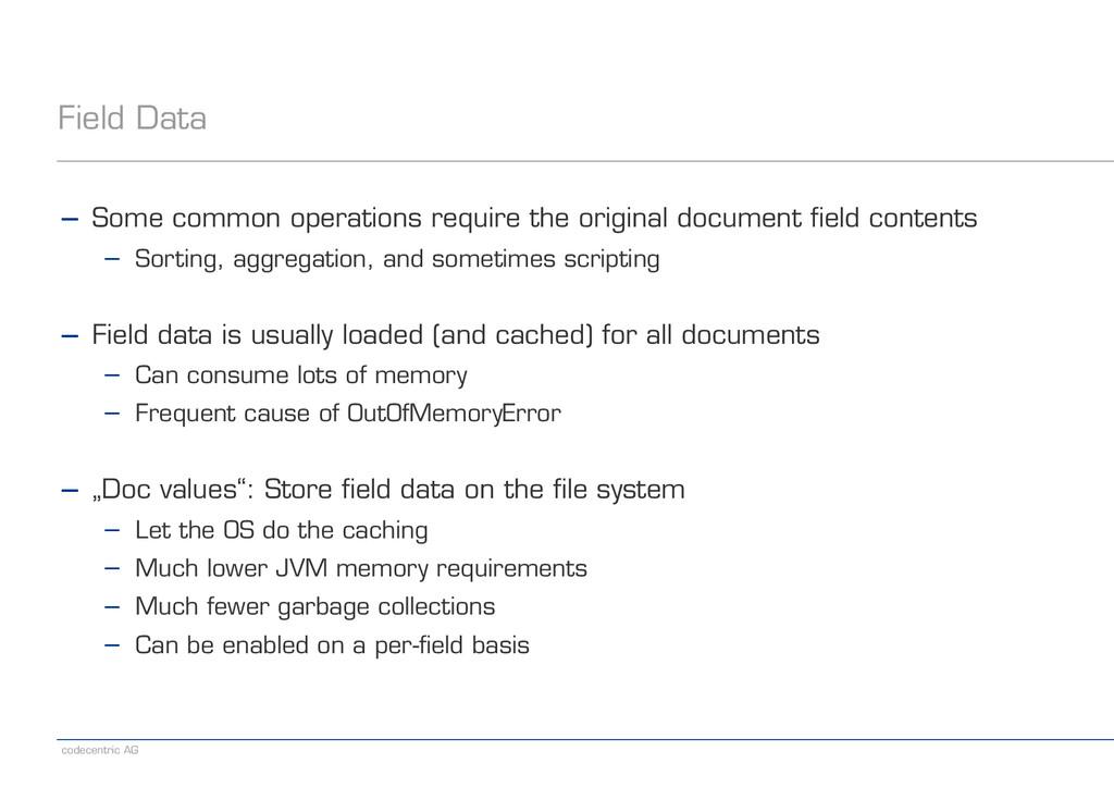 codecentric AG Field Data − Some common operati...