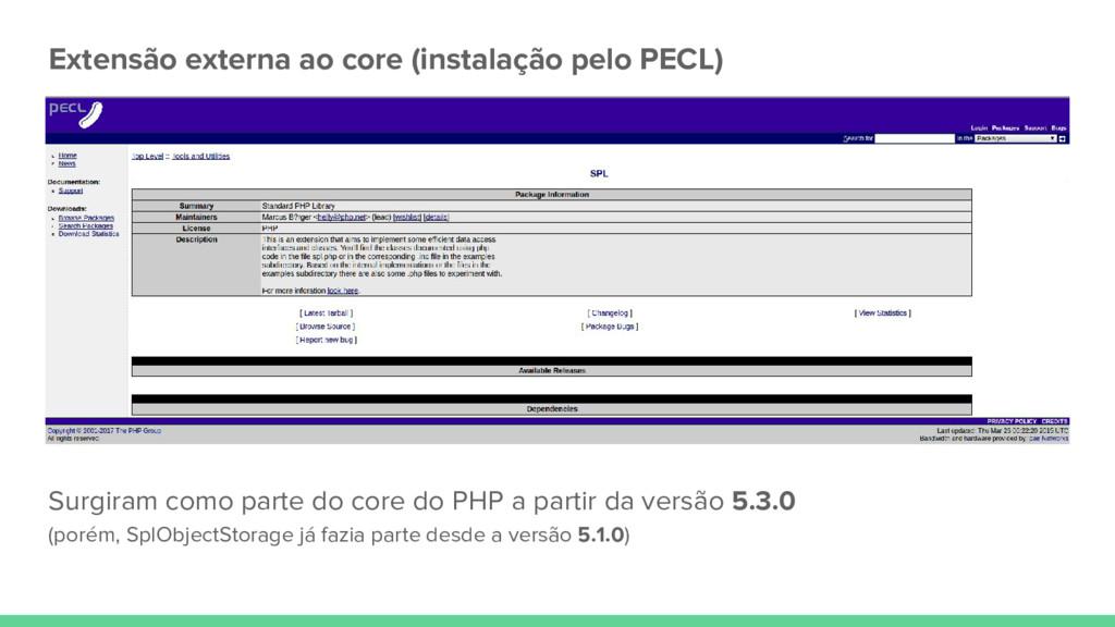 Extensão externa ao core (instalação pelo PECL)...