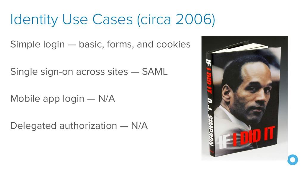 Identity Use Cases (circa 2006) Simple login — ...