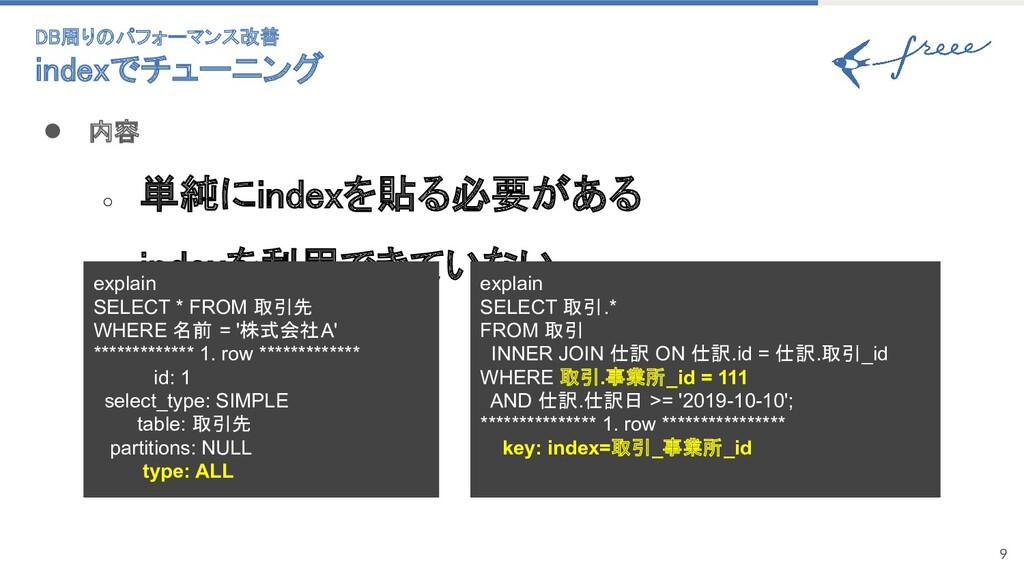 9 ● 内容 ○ 単純にindexを貼る必要がある ○ indexを利用できていない ...