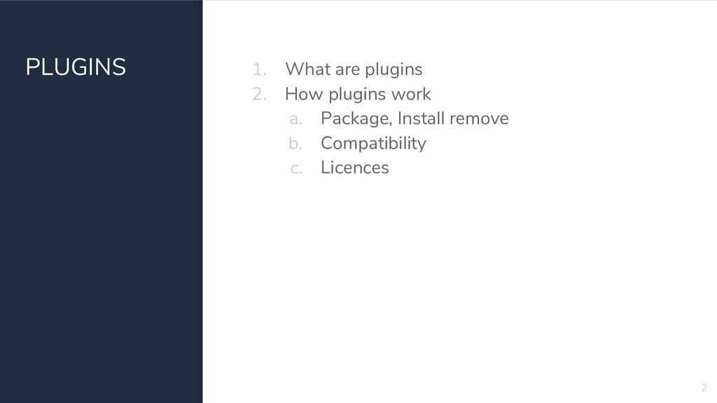 PLUGINS 1. What are plugins 2. How plugins work...