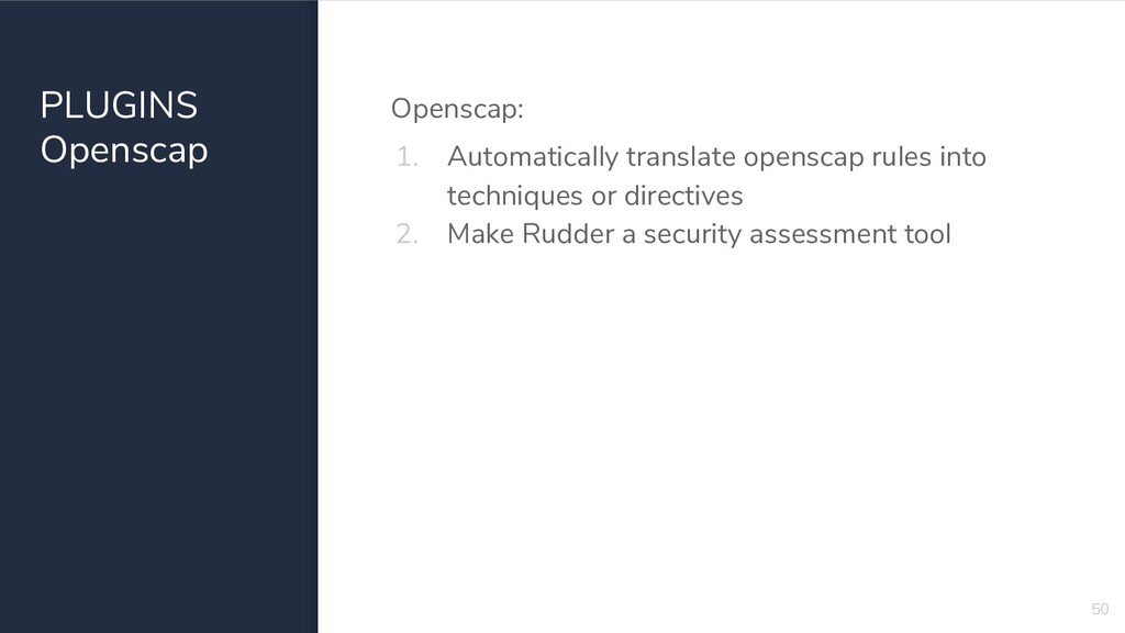PLUGINS Openscap Openscap: 1. Automatically tra...