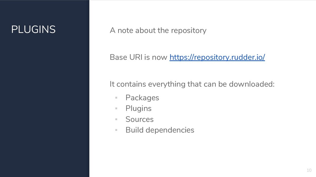 PLUGINS A note about the repository Base URl is...