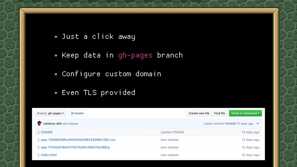 * Just a click away  * Keep data in gh-pages br...