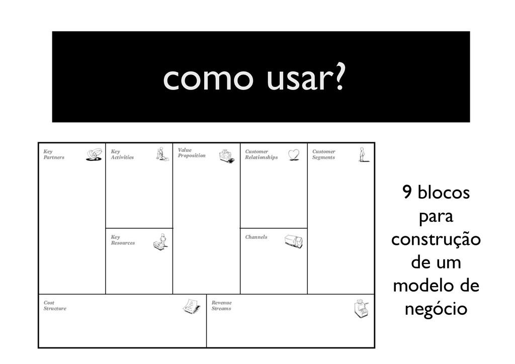 como usar? 9 blocos para construção de um model...
