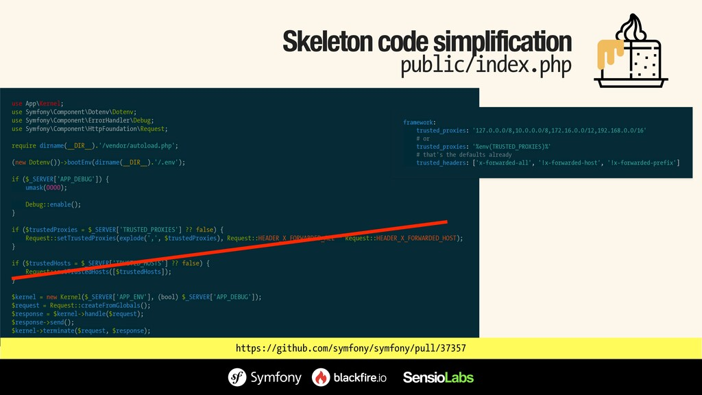 Skeleton code simplification public/index.php u...