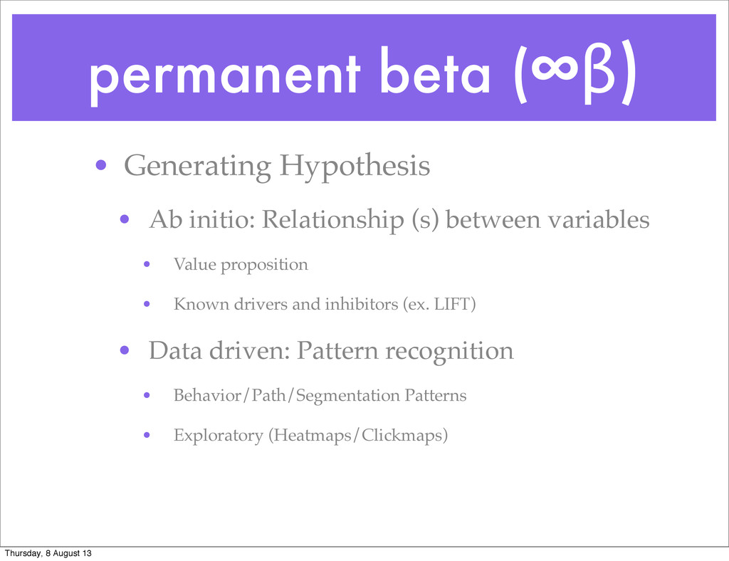 permanent beta (∞β) • Generating Hypothesis • A...