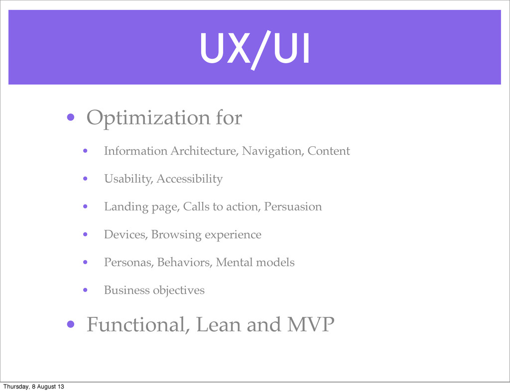 UX/UI • Optimization for • Information Architec...