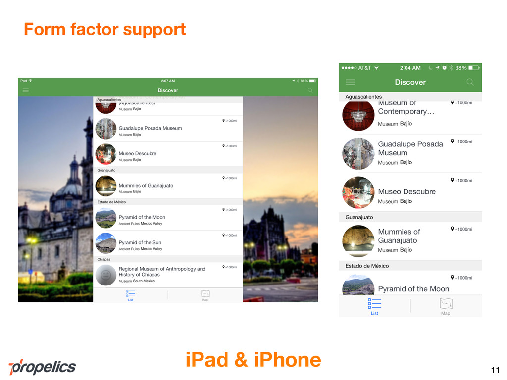 Form factor support 11 iPad & iPhone