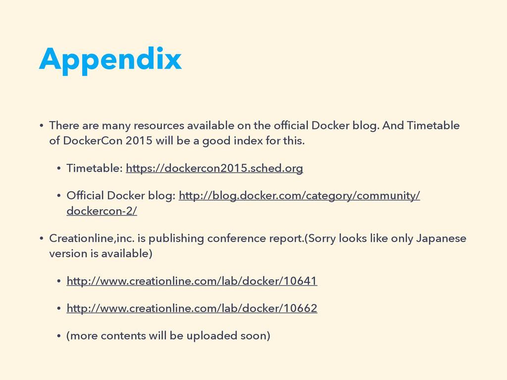 Appendix • There are many resources available o...