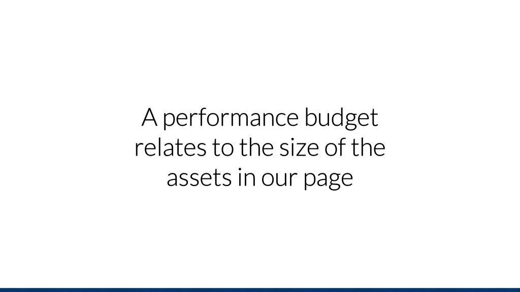 A performance budget relates to the size of the...