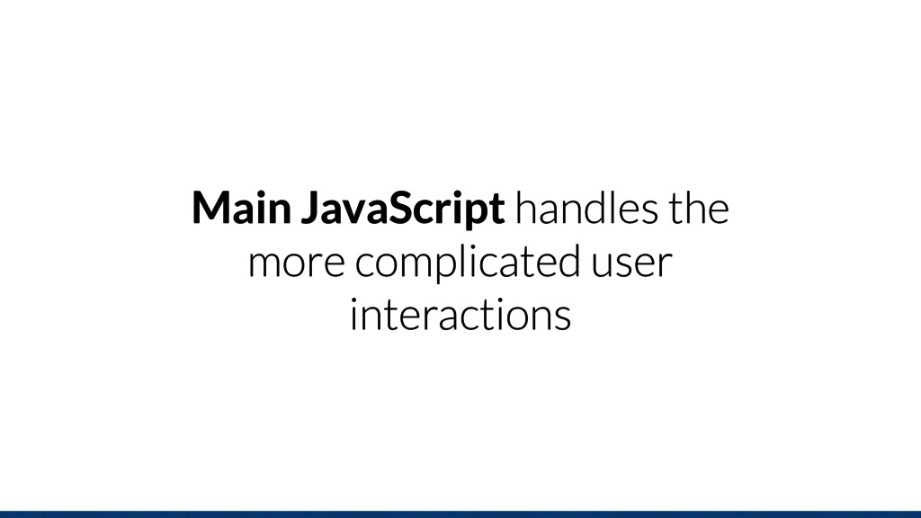Main JavaScript handles the more complicated us...