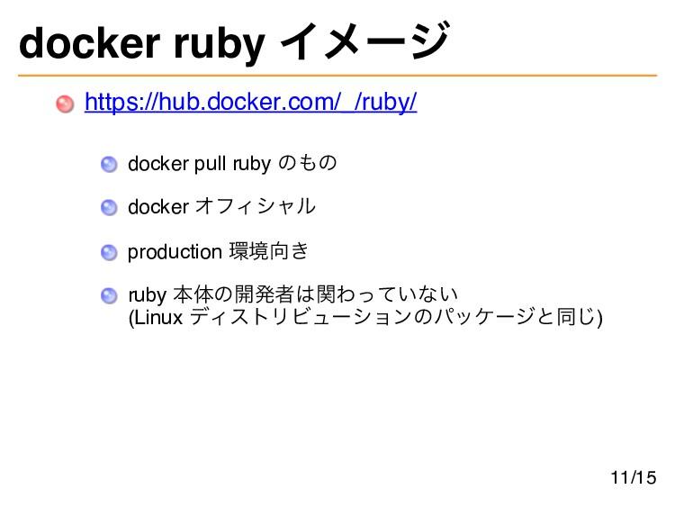 docker ruby イメージ https://hub.docker.com/_/ruby/...