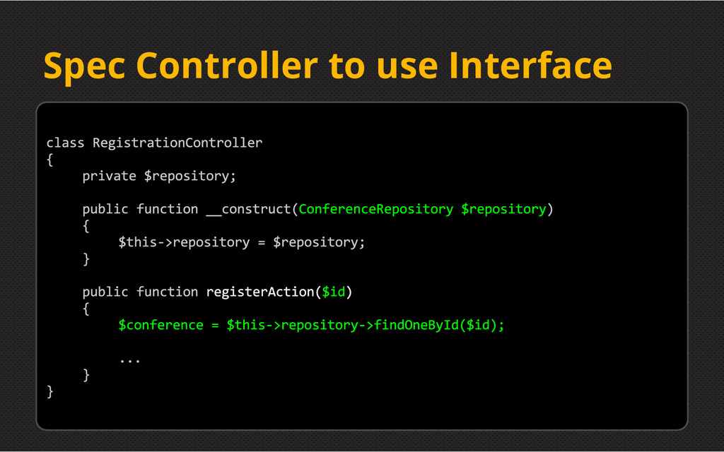 Spec Controller to use Interface
