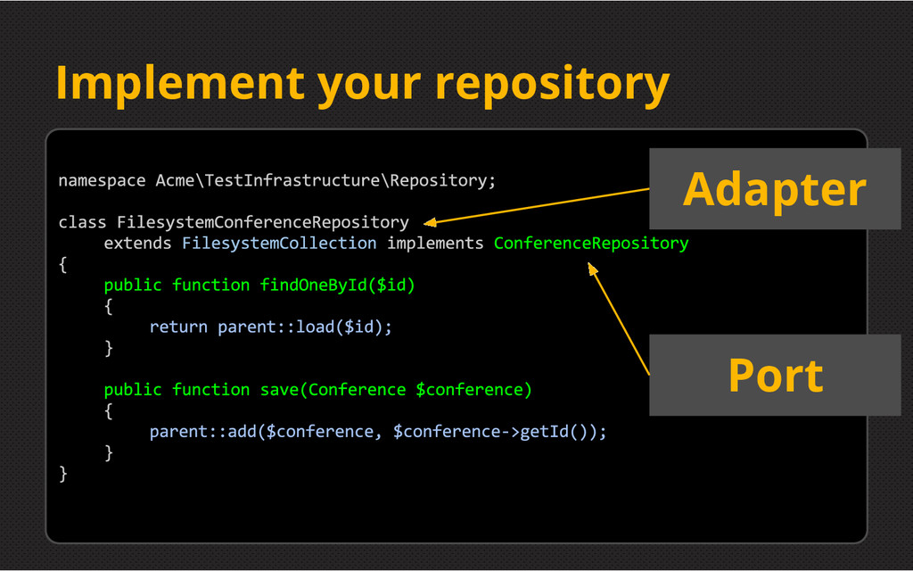 Implement your repository Port Adapter
