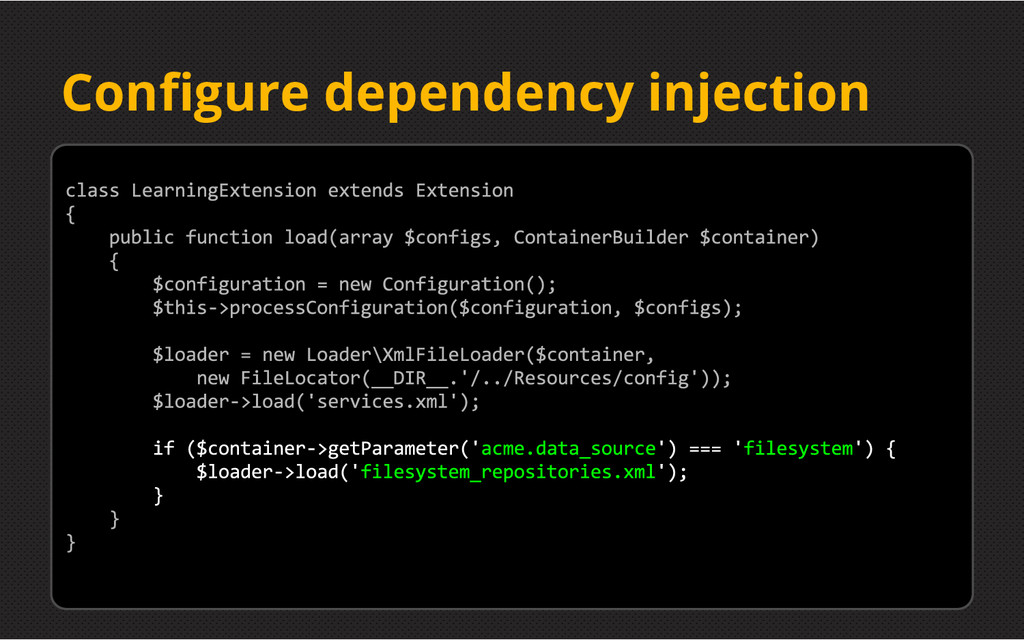 Configure dependency injection