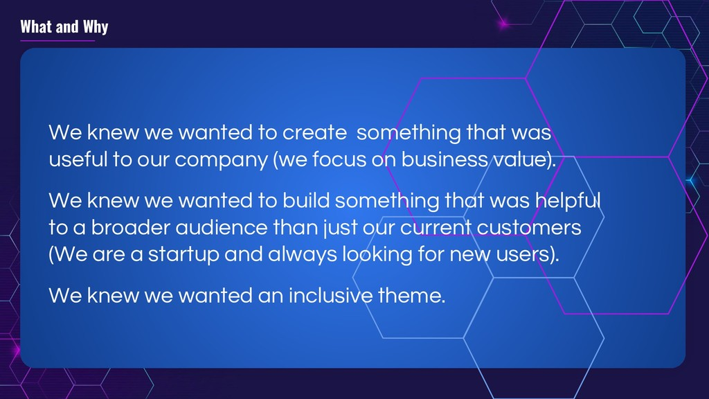What and Why We knew we wanted to create someth...