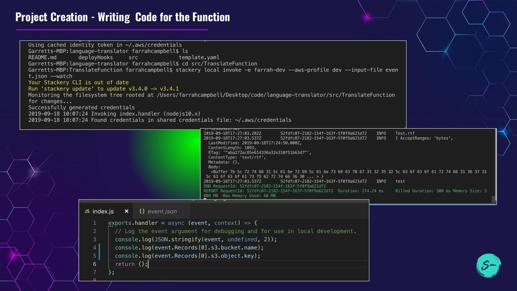 Project Creation - Writing Code for the Function