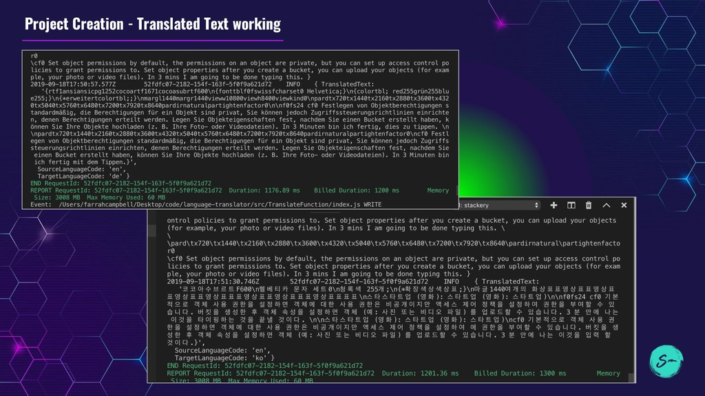 Project Creation - Translated Text working