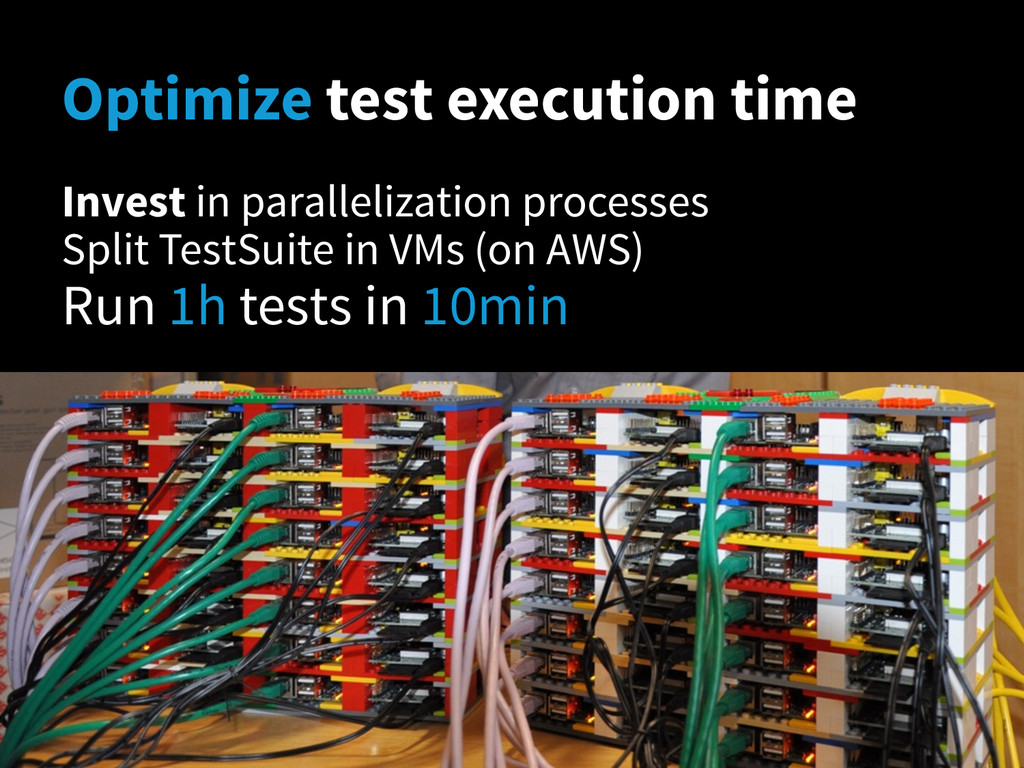Optimize test execution time Invest in parallel...