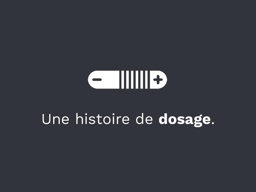 Une histoire de dosage.