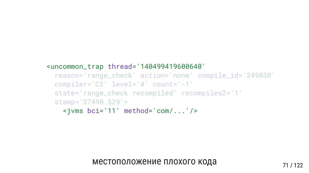 местоположение плохого кода <uncommon_trap thre...
