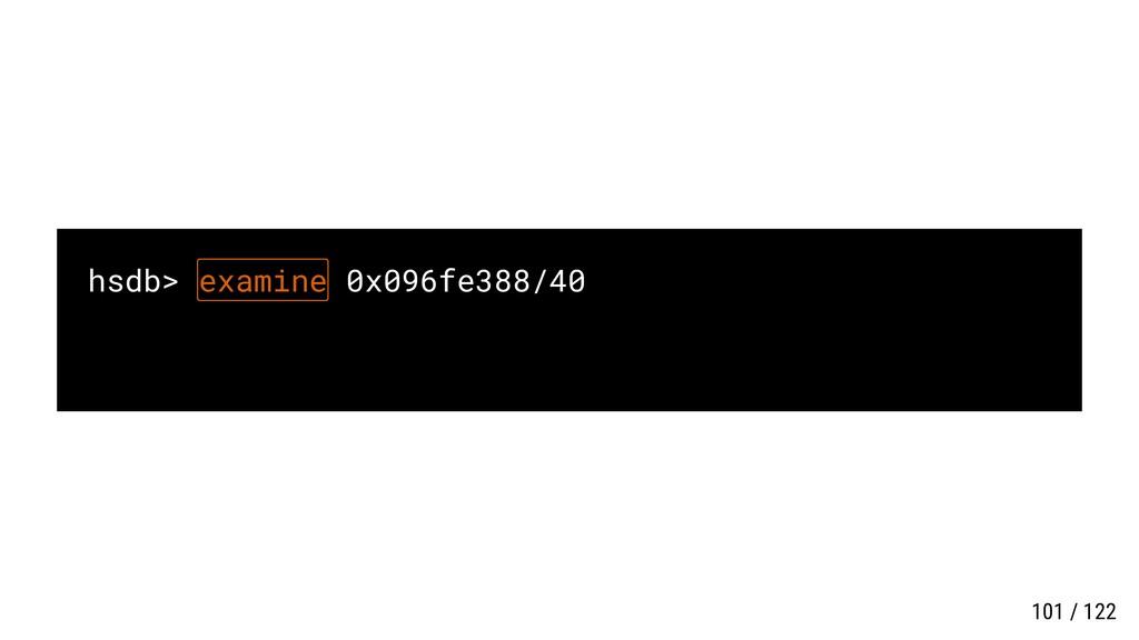 hsdb> examine 0x096fe388/40 101 / 122