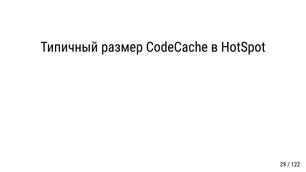 Типичный размер CodeCache в HotSpot 29 / 122