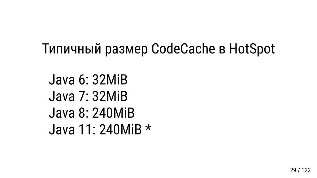 Типичный размер CodeCache в HotSpot Java 6: 32M...
