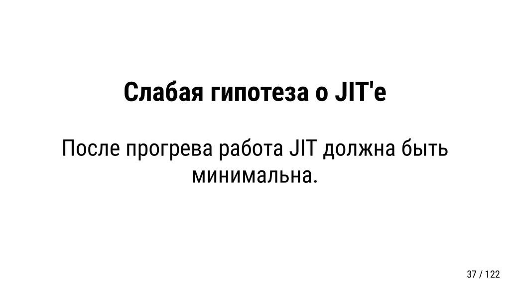 Слабая гипотеза о JIT'е После прогрева работа J...