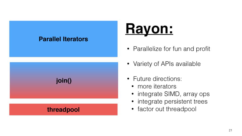 21 Parallel Iterators join() threadpool Rayon: ...