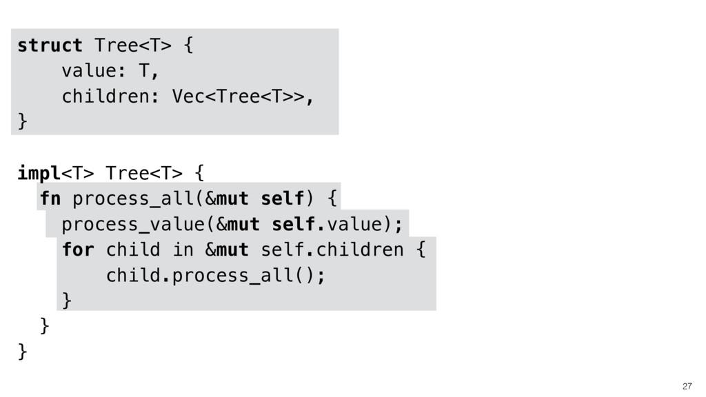 27 struct Tree<T> { value: T, children: Vec<Tre...