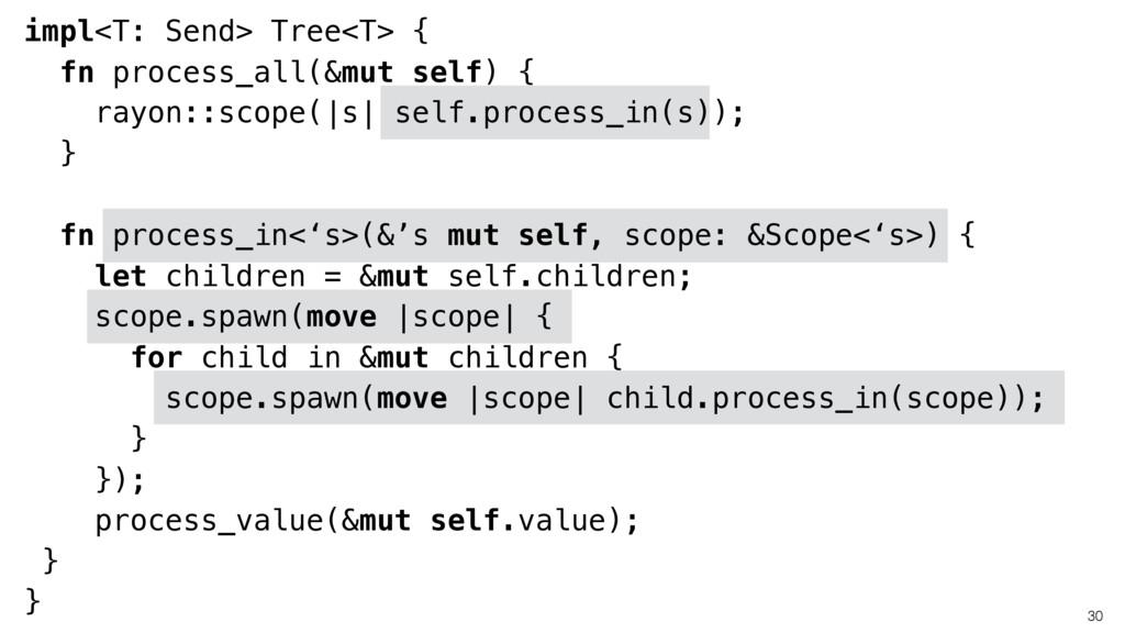 30 impl<T: Send> Tree<T> { fn process_all(&mut ...
