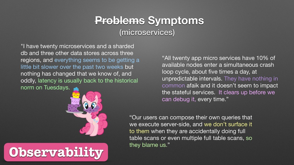 "Problems Symptoms ""I have twenty microservices ..."