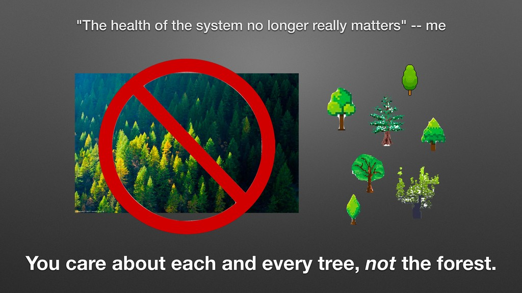 You care about each and every tree, not the for...
