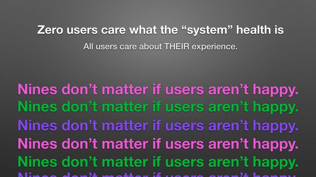 "Zero users care what the ""system"" health is All..."
