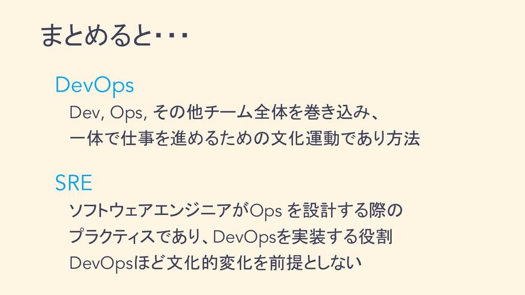 まとめると・・・  DevOps   Dev, Ops, その他チーム全体を巻き込み、   一...