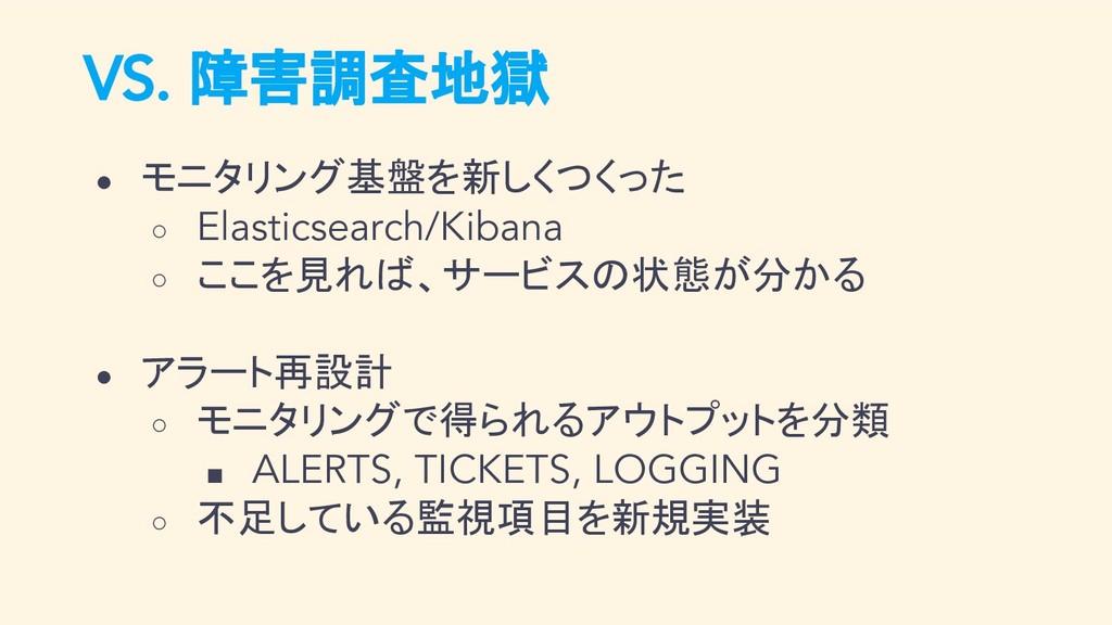 VS. 障害調査地獄 ● モニタリング基盤を新しくつくった ○ Elasticsearch/K...