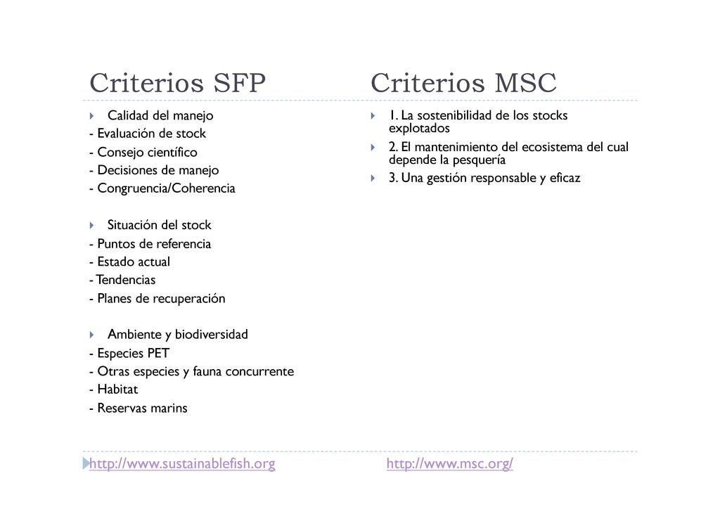 Criterios SFP Criterios MSC  Calidad del mane...