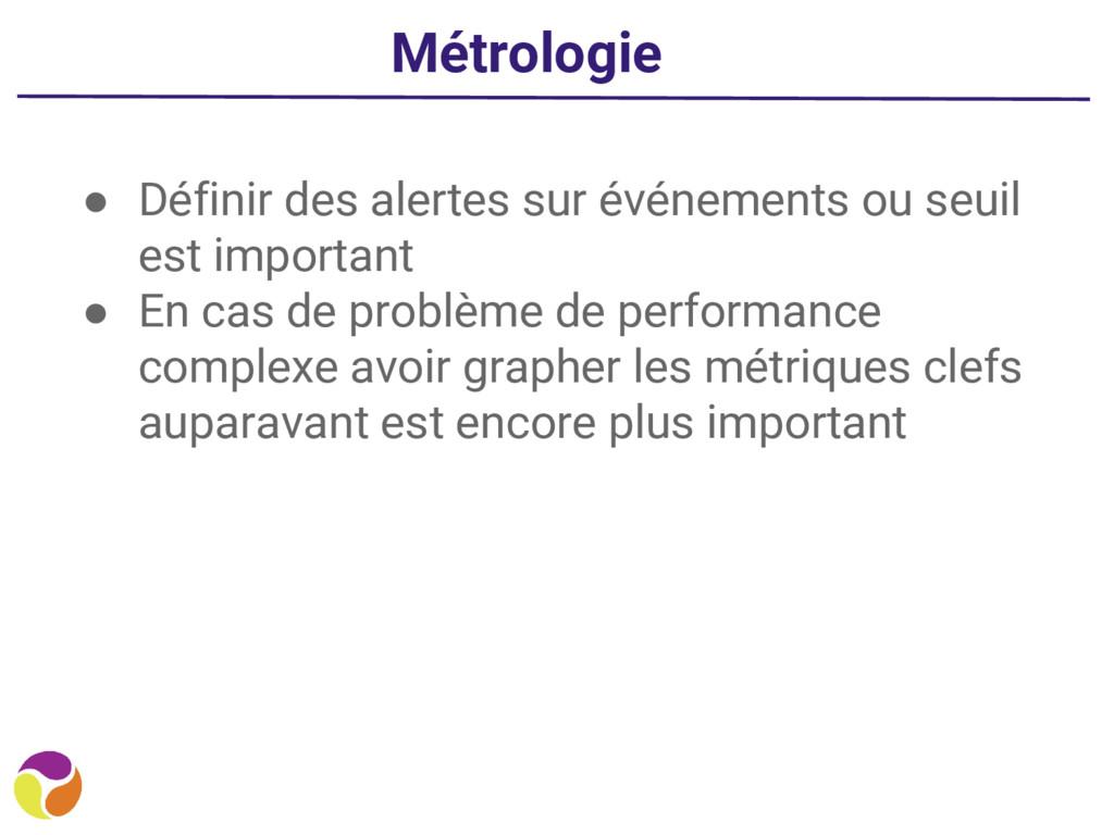 Métrologie ● Définir des alertes sur événements...