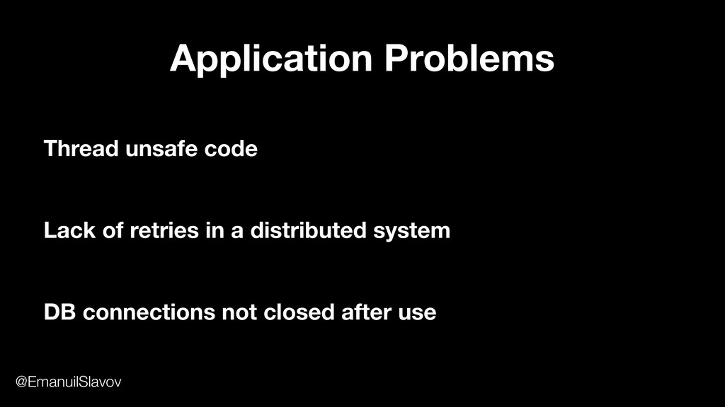 Application Problems Thread unsafe code Lack of...