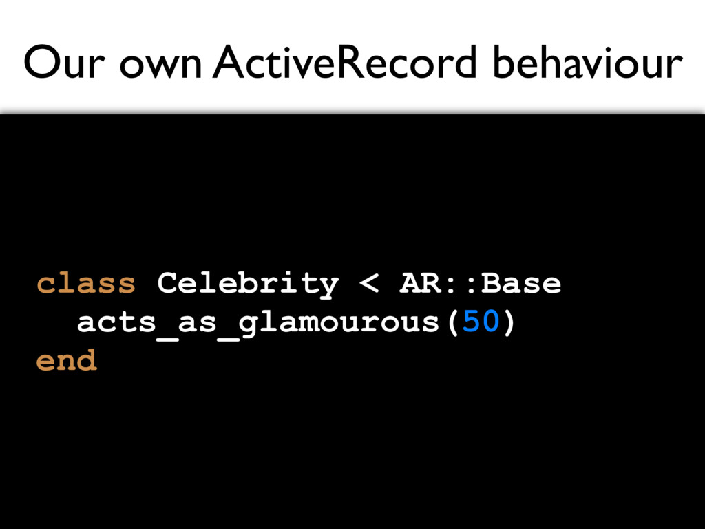 Our own ActiveRecord behaviour class Celebrity ...