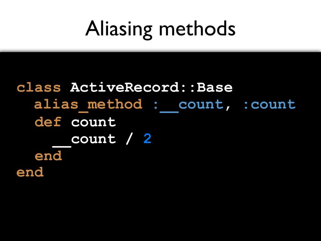 Aliasing methods class ActiveRecord::Base end a...