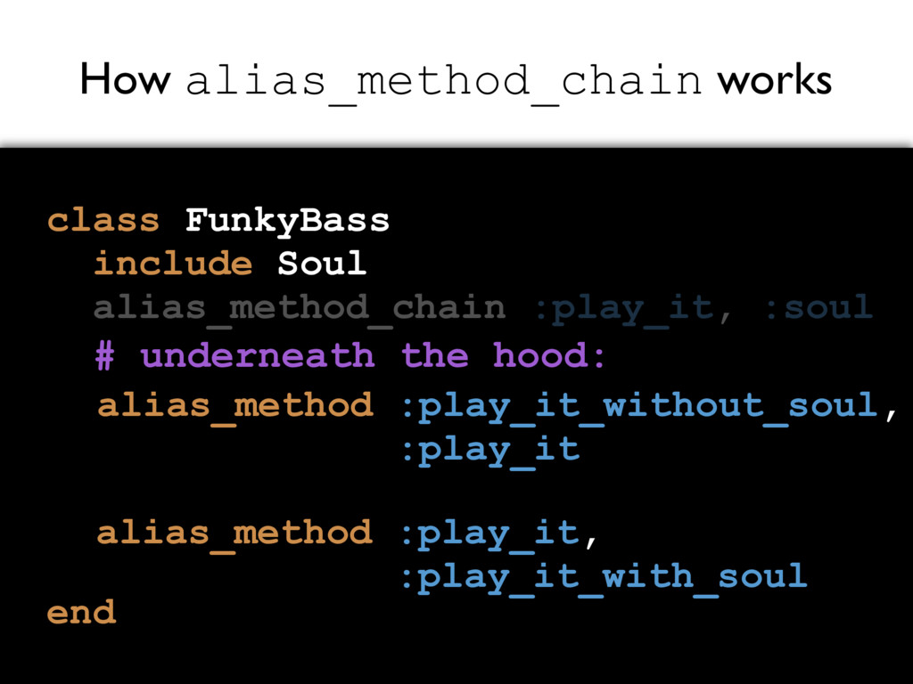 How alias_method_chain works class FunkyBass in...