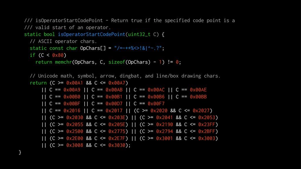 /// isOperatorStartCodePoint - Return true if t...