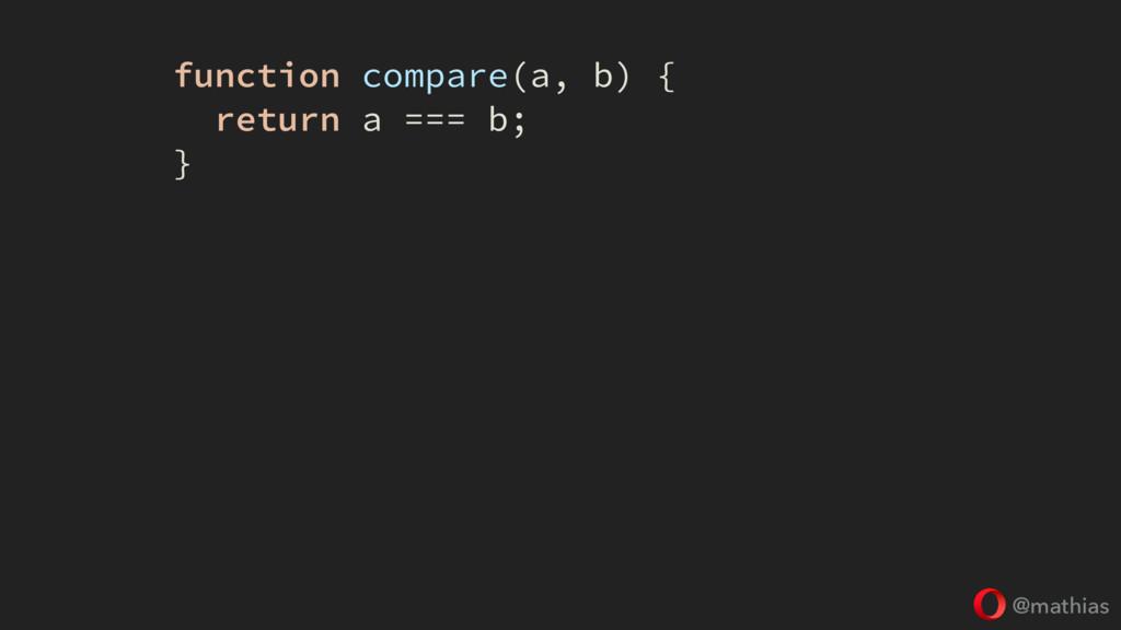 @mathias function compare(a, b) { return a === ...