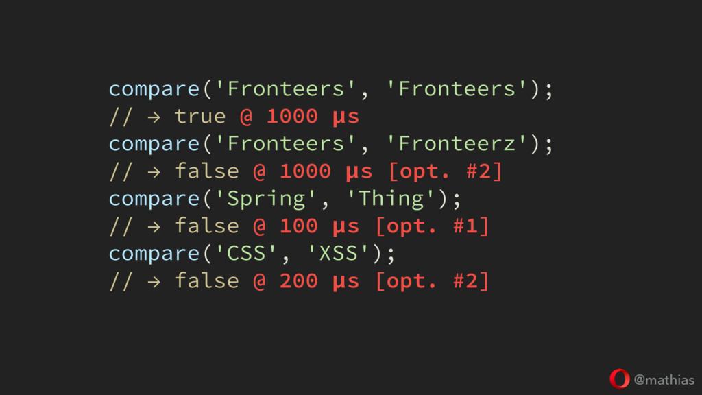 @mathias compare('Fronteers', 'Fronteers'); // ...