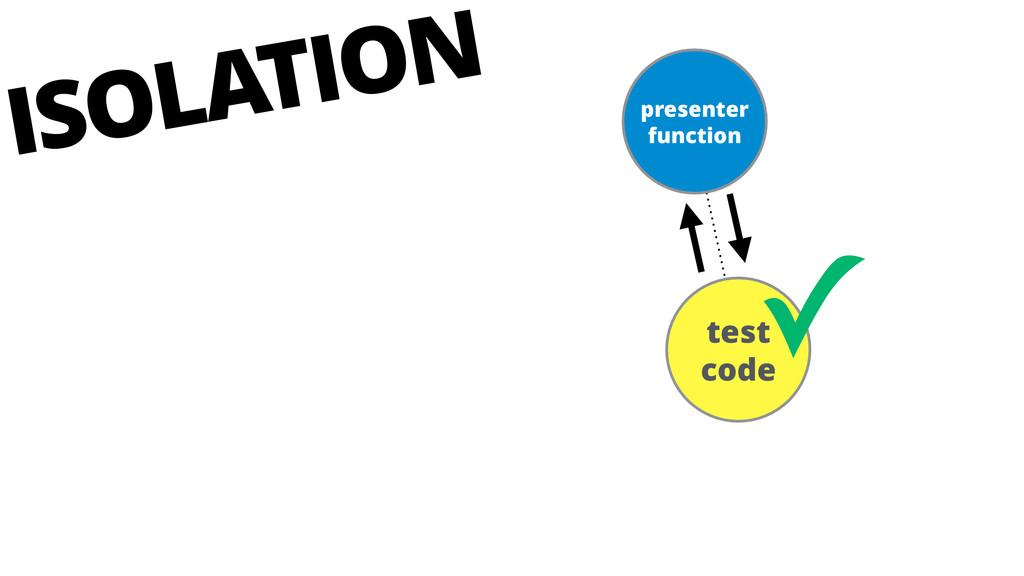 presenter function test code ✓ ISOLATION
