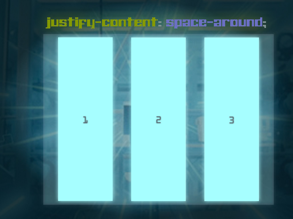 justify-content: space-around; 1 2 3